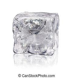 cubo blanco, hielo, plano de fondo, antes