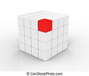 cubo branco, isolado, 3d