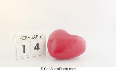 cubo, calendário, para, 14, fevereiro, com, coração vermelho
