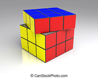cubo, coloreado