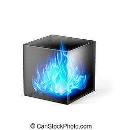 cubo, com, fogo, chamas