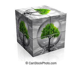 cubo, com, um, bolha, e, um, árvore, ligado, aquilo