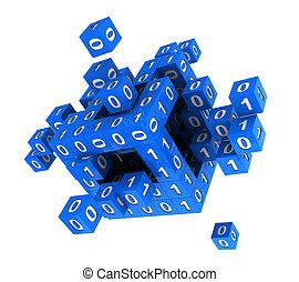 cubo, con, código binario
