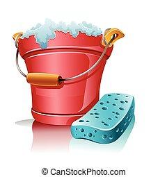 cubo, con, espuma, y, esponja de baño