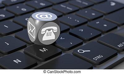 cubo, con, segni, per, email, telefono, e, lettera