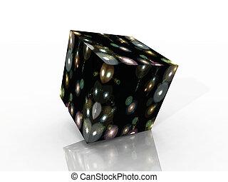 cubo, de, estrellas, y, colores