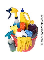 cubo, de, fuentes de limpieza