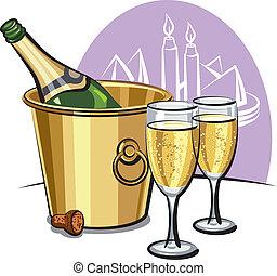 cubo del champán, botella, hielo