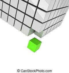 cubo, distaccato, concetto, verde, prendere