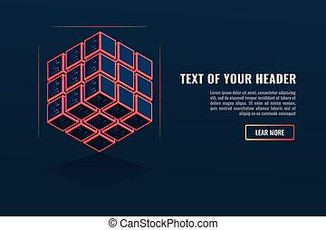 cubo, el consistir, de, un, conjunto, de, unidades, base de datos, concepto, servidor, estante, blockchain, depósito, de, digital, datos
