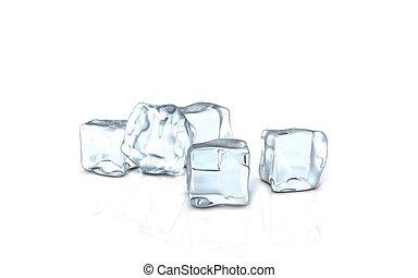cubo gelo, vidro, superfície
