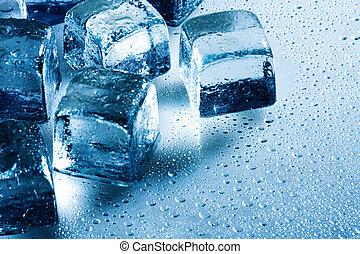 cubo ghiaccio, e, gocce acqua, su, il, bagnato, fondo