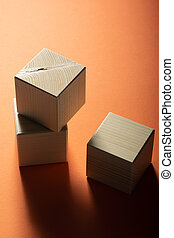 cubo, gruppo, legno, forme, cima, tre, fondo., arancia, geometrico, vista