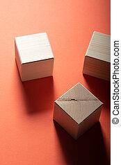 cubo, gruppo, legno, forme, cima, tre, fondo., geometrico, rosso, vista