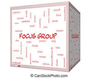 cubo, gruppo, whiteboard, fuoco, concetto, parola, nuvola, 3d