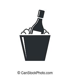 cubo hielo, botella, champaña