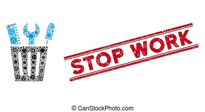 cubo, icono, parada, mosaico, herramientas, viral, trabajo,...
