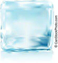 cubo, illustra, gelo, vetorial, vista dianteira