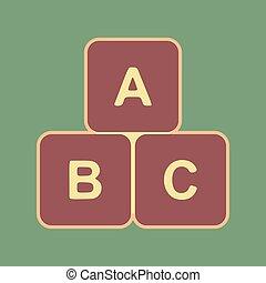cubo, illustration., apr, sinal, cordovan, abc, vector.,...