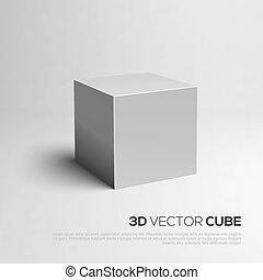 cubo, ilustración, vector, 3d., su, design.