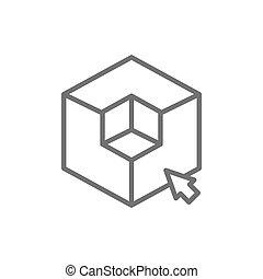 cubo, línea, 3 dimensional, forma, modelado, modelo, icon., ...