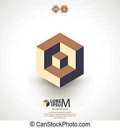cubo, lógica, logotipo, icono