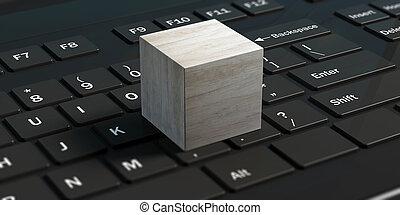 cubo, laptop., illustrazione, nero, vuoto, 3d