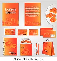 cubo, modelo, elemento, arquitetônico, identidade incorporada