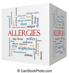 cubo, palabra, alergias, concepto, nube, 3d