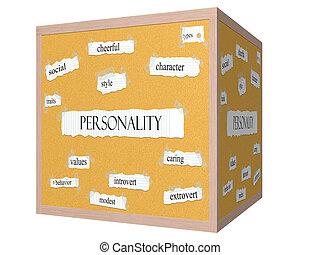 cubo, palabra, corkboard, concepto, personalidad, 3d