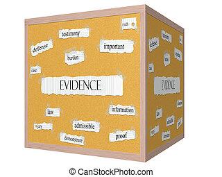 cubo, palabra, corkboard, evidencia, concepto, 3d