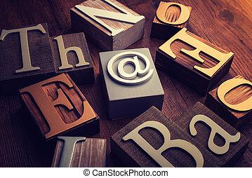 cubo, palabra, de madera, formación, símbolo, e-mail, concepto
