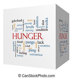 cubo, palabra, hambre, concepto, nube, 3d