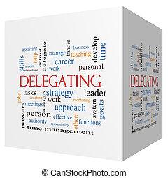cubo, palavra, conceito, delegar, nuvem,  3D
