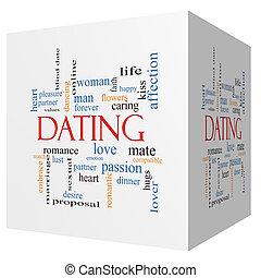 cubo, palavra, conceito, namorando, nuvem,  3D