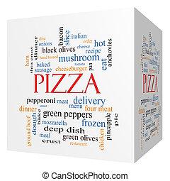 cubo, palavra, conceito,  pizza, nuvem,  3D