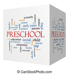 cubo, palavra, conceito, pré-escolar, nuvem, 3d