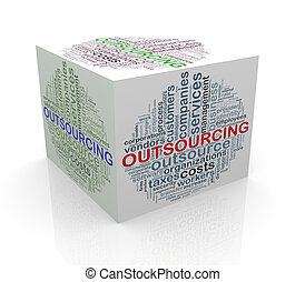 cubo, palavra, etiquetas, outsourcing, wordcloud, 3d