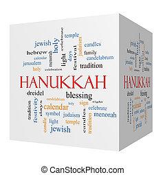 cubo, palavra, hanukkah, conceito, nuvem, 3d