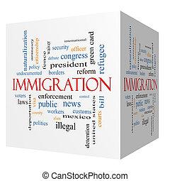 cubo, palavra, imigração, conceito, nuvem, 3d