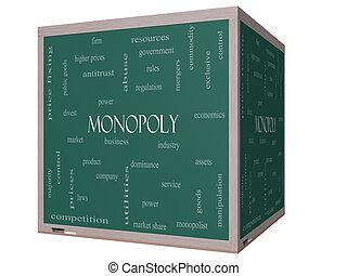 cubo, palavra, monopólio, quadro-negro, conceito, nuvem, 3d