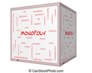 cubo, palavra, monopólio, whiteboard, conceito, nuvem, 3d
