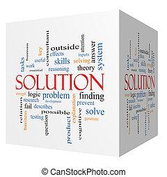 cubo, palavra, solução, conceito, nuvem, 3d