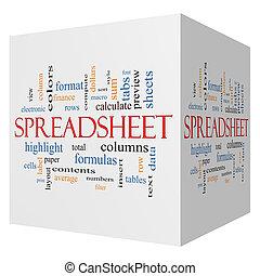 cubo, palavra, spreadsheet, conceito, nuvem, 3d