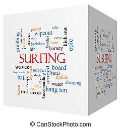 cubo, palavra, surfando, conceito, nuvem,  3D