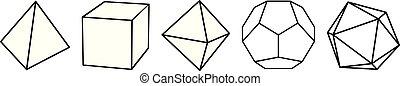 cubo, platonic, octahedron, icosahedron, tetraedro, sólido, ...
