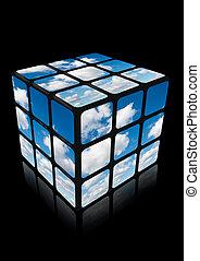 cubo, reflexão, colagem, céu, nuvem preta