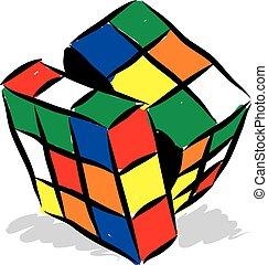 cubo, rubik, ilustración