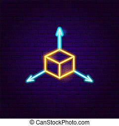 cubo, sinal néon
