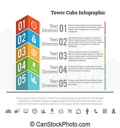 cubo, torre, infographic